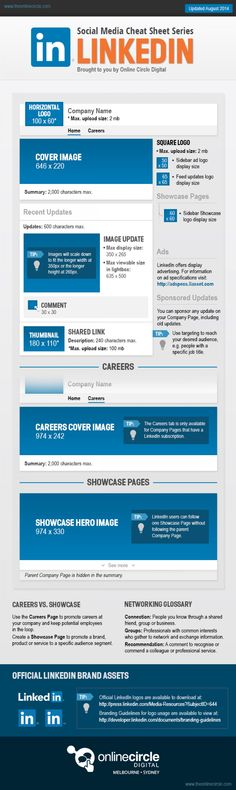 LinkedIn Sizes and Dimensions Cheat Sheet 2014