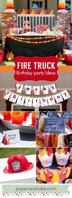 Fire Truck Birthday party ideas and decorations from paperandcake.com #fireman #firemen #flames #firefighter #fireengine