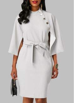 Button Embellished Mock Neck Belted Dress  on sale only US$33.08 now, buy cheap Button Embellished Mock Neck Belted Dress  at Rosewe.com