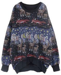 Black Long Sleeve Animal Print Loose Sweatshirt pictures