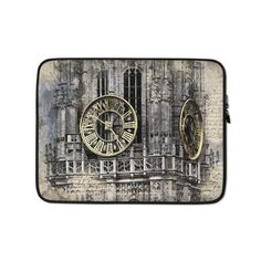 This lightweight, form-fitting Clock Tower 3875784 Laptop Sleeve is a must-have for any laptop owner on the go. To prevent any scratches, it contains a padded zipper binding and its interior is lined with faux fur. Poly Bags, Sleeve Designs, Laptop Case, Order Prints, Laptop Sleeves, Biodegradable Products, Faux Fur, Tower, Clock