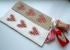 Free Sewing Pattern: Country Heart Bookmark. Sign Up To www.craftsy.com For Free To Get Free Patterns. I Have More Than 400! http://www.craftsy.com/pattern/sewing/other/country-heart-bookmark/118848?_ct=rbew&_ctp=141741