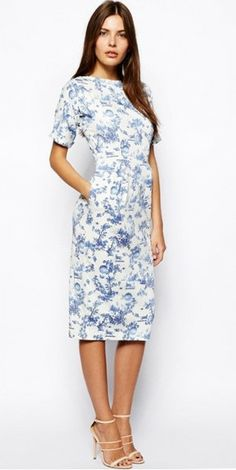 d84795477fd3 Modest Midi Floral Printed Dress with Elbow length sleeves below the knee |  Mode-sty