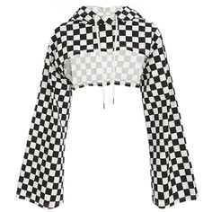 MONGIFI Checkerboard Cotton Hoodies Women Sweatshirts Flare Long Sleeve Smocked Checkered Crop Tops Plaid Ladies Hoodies You are in the right place about Country Outfit english Here we offer you the m Crop Top Outfits, Edgy Outfits, Teen Fashion Outfits, Cute Casual Outfits, Girl Outfits, Womens Fashion, Fashion Dresses, Sims4 Clothes, Mode Top