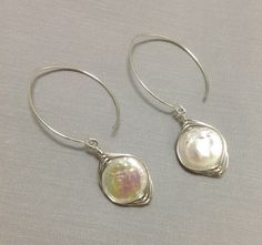 Natural Pearl Earring made of Sterling Silver by OritWhiteLight