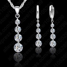 Romantic 925 Sterling Silver Link Chain Crystal  Pendant Jewelry Set  For Women Choker Wedding  Jewelry Set >>> More info could be found at the image url.