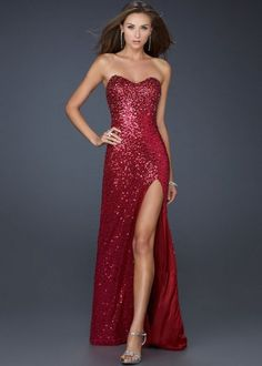 Red Strapless Sparkly Beaded High Slit Long Prom Dress  $176