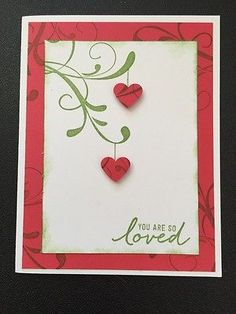"Stampin Up Card Kit Set Of 4 Any Occasion/Valentines Hanging Hearts Red ""Loved"""