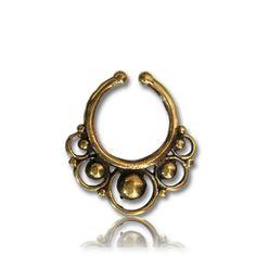 $14 Fake faux ornate brass SEPTUM RING gold nose gauge piercing Palina Design 10 #PALINADESIGN