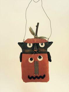 Primitive Pumpkin Cat Halloween Wall Door by CozyExpressions