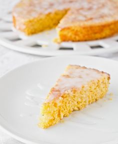 Lemon Cornmeal Cake - used it with other one I pinned bc other one in grams. Used this cake recipe with almond extract and other recipe for simple syrup.