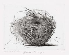 Jakob Demus(Austrian, b.1959)  Birds nest Ⅱ 1989  Diamond drypoint