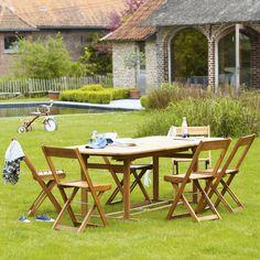 Salon de jardin en bois brossé - Carrefour | Ambiances Jardin ...