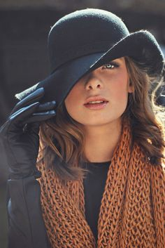 love hats. Black hat brown scarf. Winter women apparel style outfit @roressclothes closet ideas fashion ladies clothing
