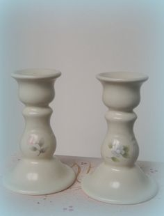 Pfaltzgraff Tea Rose candle holder pair  ETSY USED 15$  AMAZON 17+FRT  EBAY all over the place