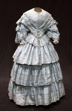 Wedding dress, 1857, via Bowes Museum.