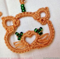 Kittens tatted earrings Tatting lace cat Beaded by Ilfilochiaro