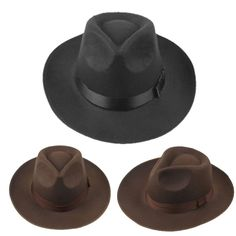 New Women Mens Wool Felt Wide Brim Fedora Trilby Pork Pie Panama Hat Cap 3a6784f440e5