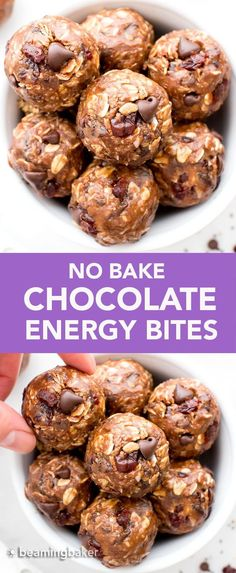 No Bake Energy Bites: a super easy no bake energy bites recipe made with simple, healthy ingredients and bursting with chocolate flavor! #NoBake #EnergyBites #Healthy #EnergyBalls   Recipe at BeamingBaker.com Healthy Chocolate Desserts, Raw Vegan Desserts, Clean Eating Desserts, Vegan Sweets, Homemade Chocolate, Healthy Dessert Recipes, Whole Food Recipes, Snack Recipes, Eating Clean