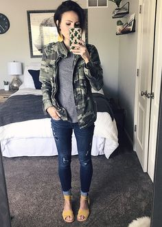 Outfit goals, outfit inspiration with camo and denim