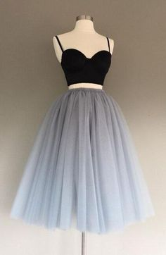 Two-Piece Gray Prom Dress,Tulle Short Homecoming Dress,Charming A-Line Graduation Dress,CHeap Homecoming Dress,Cute Mini Prom Dress,Sweet 16 Dress,Spaghetti Straps Homecoming Dress,Homecoming Dress