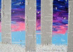 Newspaper Birch Tree Winter Art   I Heart Crafty Things