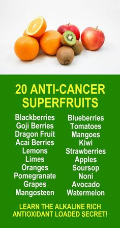 20 Anti Cancer Superfruits. Get healthy and lose weight with our alkaline rich, antioxidant loaded, weight loss products that help you increase energy, detox, cleanse, burn fat and lose weight more efficiently without changing your diet, increasing your exercise, or altering your lifestyle. LEARN MORE #Antioxidants #Alkaline #Detox #Cleanse #FatBurning #WeightLoss #MetabolismBoosting