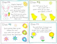 Easter morning scavenger hunt.  Free Printable Easter Egg Hunt Card Clues