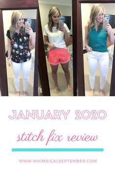 January 2020 Stitch Fix Review: In my 30th box, I received a pair of white denim pants, a pair of athletic shorts, a dress, and two tops. Here is what I kept and what I sent back. This and 30+ more Stitch Fix reviews on WhimsicalSeptember.com Just Don, Just Give Up, Happy Long Weekend, Stitch Fix Outfits, Button Up Dress, Clothing Labels, White Denim, Athletic Shorts, Denim Pants