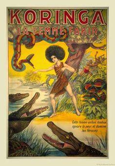 KORINGA LA FEMME FAKIR ORIGINAL FRENCH CIRCUS POSTER
