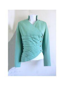 1950's Lilli Ann of San Fraqncisco Tourquoise Jacket with Rheinstone buttons, Bombshell, designer