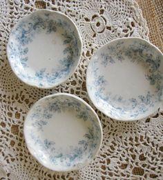 Vintage Butter Pats Antique Salt Cellars Blue by KathleenRobinaugh