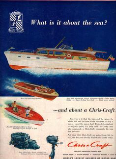 original 1952 advertisement for cris craft motor boat 10 inches by 13 inches in good condition perfect for framing please note my scanner cut off inch around all edges but original document is complete Chris Craft Wooden Boats, Classic Wooden Boats, Classic Boat, Classic Yachts, Cabin Cruiser, Vintage Boats, Old Boats, Yacht Boat, Power Boats