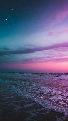 Ocean Beach Twilight Moon Starry Sky iPhone Wallpaper - iPhone Wallpapers