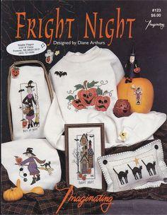 Cross Stitch Pattern Halloween Fright Night Diane Arthurs Imaginating Pumpkin #Imaginating #Varies