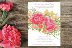 Watercolour Blooms Invitation by AppleberryPaperGoods on Etsy