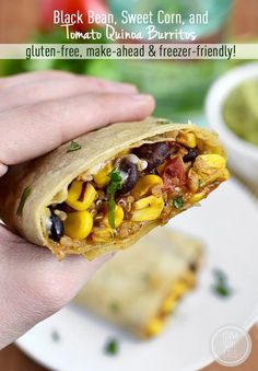 Black Bean, Sweet Corn, and Tomato Quinoa Burritos are gluten-free, make-ahead and freezer friendly. Perfect for a quick lunch or dinner! | iowagirleats.com