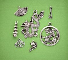 ASIA MIX Charm Collection Antique Tibetan Silver by SmartParts, $2.50 pagoda tower lotus circle dragon Chinese dragon koi fish chopsticks and sushi geisha fan