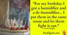 Birthday Quote - Steven Wright - (With Picture) Great Birthday Quotes, Steven Wright, Popular Quotes, Jokes Quotes, Humidifier, Daily Quotes, Be Yourself Quotes, Picture Quotes, Feel Better