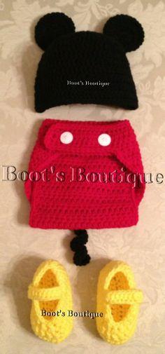 Boy Mouse Crocheted Set