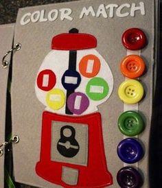 Quiet book: Gumball color match, tic-tac-toe: