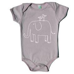 Organic Elephant Onesie in Gray. $22.00, via Etsy.
