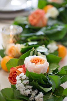 Lemon Leaf Garland (by the foot) – Bloominous-Inc Orange Wedding Flowers, Floral Wedding, Juliet Garden Rose, White Spray Roses, Lemon Leaves, Gold Centerpieces, Fall Floral Arrangements, Brunch Table, Eucalyptus Garland