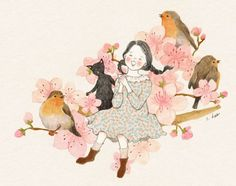 248 images about s.hee collection on We Heart It Gatos Cats, Christmas Drawing, Le Jolie, Korean Artist, Illustration Girl, Flower Images, Whimsical Art, Watercolor Print, Cat Art