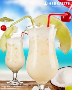 http://www.HealthyAndWise.biz    Pina Colada Fruit Smoothie    1/3 Coconut Milk  1/3 Semi Skimmed Milk  1/3 Unsweetened Pineapple Juice  2 Scoops Herbalife Tropical Fruit Formula 1  1 Cup crushed ice    Add all ingredients into blender except for crushed ice  Blend 2 minutes until frothy  Pour into glass  Add crushed ice  Garnish with a pineapple wedge    http://www.HealthyAndWise.biz