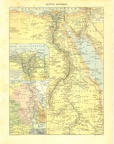 1910s Map of Egypt Modern Egypt Ancient Egypt by CarambasVintage, $16.00