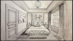 One Point Perspective Bedroom Drawing - Pick Your Watch One Perspective Drawing, One Point Perspective Room, Perspective Art, Bedroom Drawing, Drawing Room Interior, Interior Painting, Painting Doors, House Drawing, Drawing Art