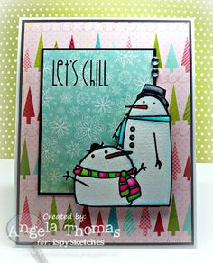 "Card made for iSpy Sketch challenge using Paper Smooches set ""Swanky Snowdudes"""