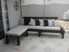 Patio furniture made from pallets, and 4x4s!!
