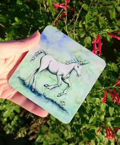 Dreamy Unicorn Art Coaster in pastel greeny blue. With a little mushroom! Unicorn Fantasy, Unicorn Art, Fantasy Art, Unicorn Illustration, Drink Coasters, Blank Cards, Original Artwork, Badge, Mushroom